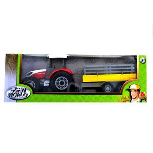 voiture camion tracteur rouge avec remorque