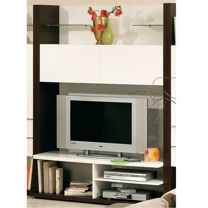 Como meuble tv 2 portes blanc weng achat vente meuble for Meuble tv mural wenge