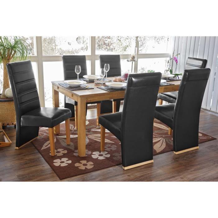 Lot de 6 chaises de salle manger similicuir noir achat for Chaises salle manger cuir dossier haut