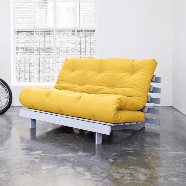 Convertible roots 140 gris futon amarillo achat vente canap sofa div - Canape futon convertible 2 places ...
