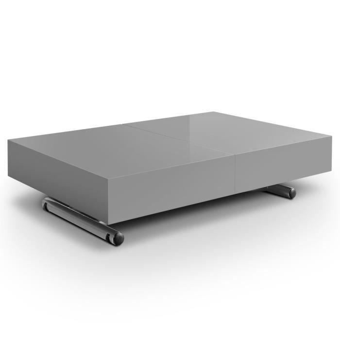 Table relevable extensible ella gris gris achat vente - Table basse relevable cdiscount ...