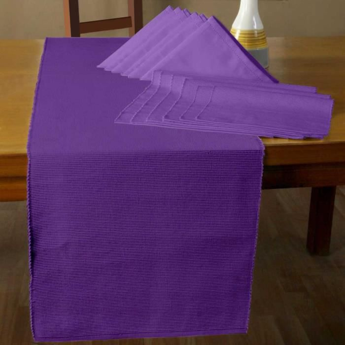 Lot 6 serviettes de table 6 sets de table 1 chemin de table violet achat vente serviette de - Chemin de table violet ...
