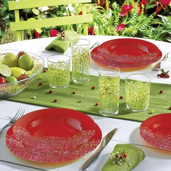 Service de table rouge fleuri 19 pcs flowerfield rouge - Service de table rouge ...