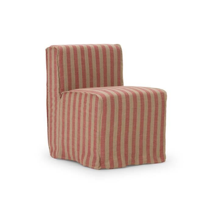 Housse pour chaise merlon en tissu rouge et beige achat for Housse de chaise beige