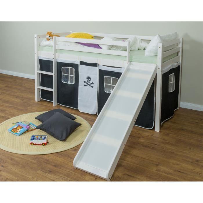 lit enfant superpos en pin massif avec toboggan chelle et rideaux noir blanc achat vente. Black Bedroom Furniture Sets. Home Design Ideas