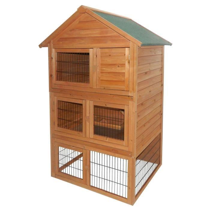 Cage avec parois en bois ... Clapier-pour-lapins-en-bois-86-5-x-106-x-160-cm