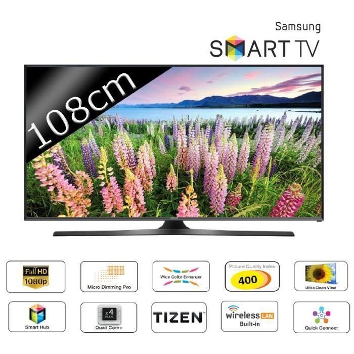 samsung ue43j5600 smart tv led full hd 108cm 43 400hz t l viseur led avis et prix pas cher. Black Bedroom Furniture Sets. Home Design Ideas