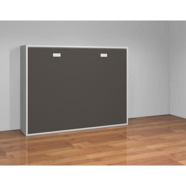 teo armoire lit escamotable 140 cm blanc mat ardoise. Black Bedroom Furniture Sets. Home Design Ideas
