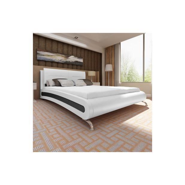 superbe lit en cuir 180 200 cm blanc avec les pieds achat vente structure de lit superbe. Black Bedroom Furniture Sets. Home Design Ideas