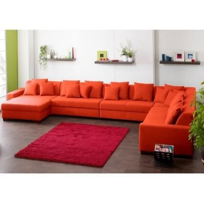 canap d 39 angle 9 places tissu mecano orange achat vente canap so. Black Bedroom Furniture Sets. Home Design Ideas