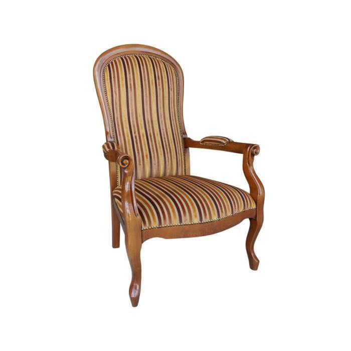 Fauteuil voltaire rayures multicouleur ue achat vente fauteuil marron - Achat fauteuil voltaire ...