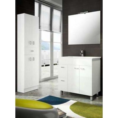Meuble salle de bain 80 cm couleur blanc achat vente for Ensemble meuble salle de bain 80 cm