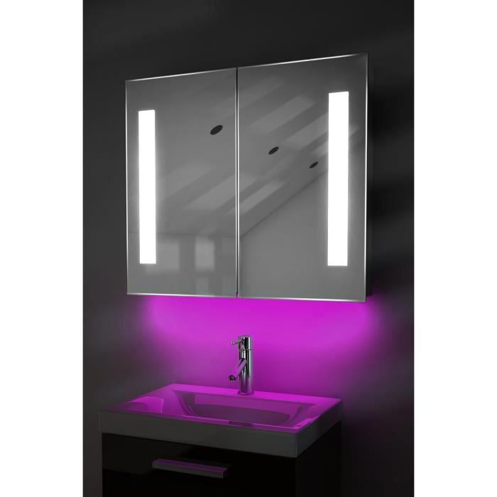 armoire de toilette anti bu e avec capteur et prise rasoir int rieure k80p rose taille l 700mm. Black Bedroom Furniture Sets. Home Design Ideas