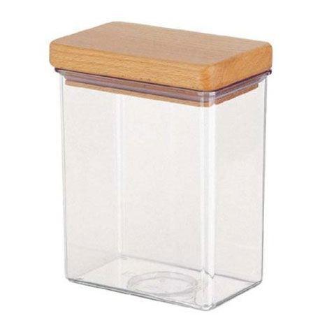 bo te provisions couvercle bois transparente achat vente boites de conservation bo te. Black Bedroom Furniture Sets. Home Design Ideas
