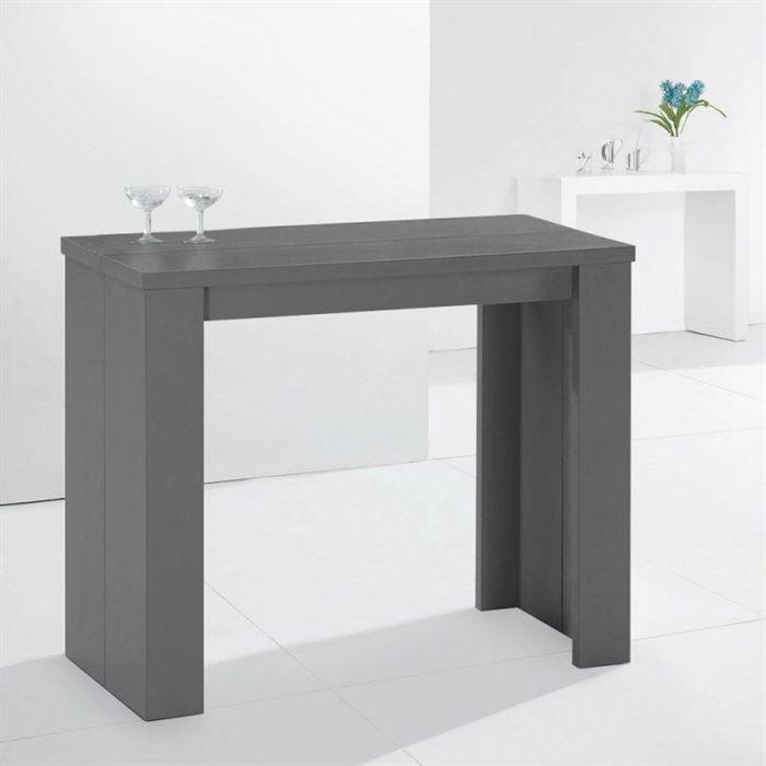 Console extensible en table repas elasto grise achat vente console consol - Console qui se transforme en table ...