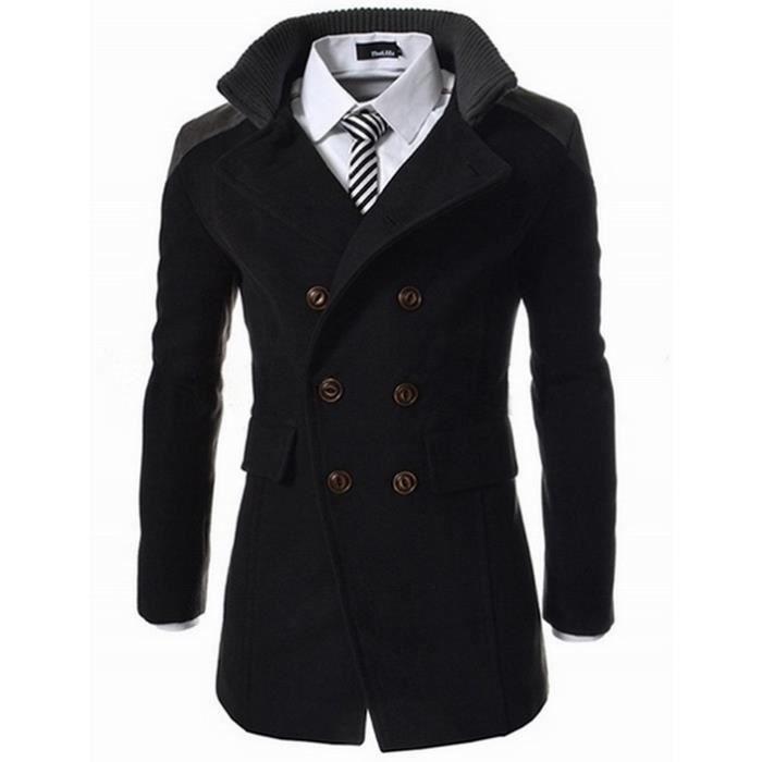 homme veste parka manteau hiver long classique en laine a double boutonnage epais chaud noir. Black Bedroom Furniture Sets. Home Design Ideas