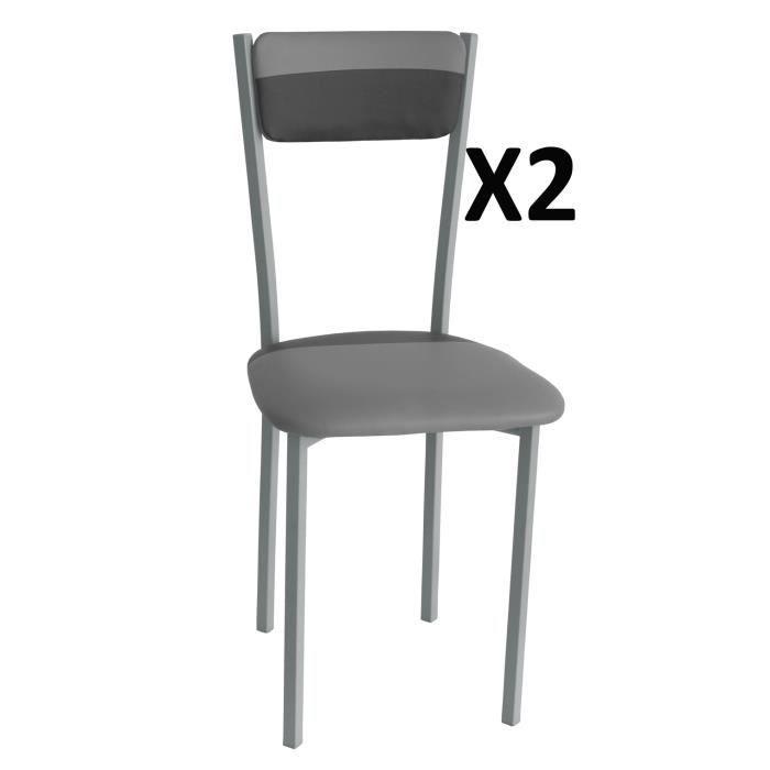 Lot de 2 chaises de salle a manger gris noir 400 x 450 x for Siege salle a manger