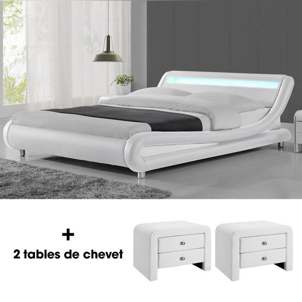 Lit led design julio 160cm avec 2 tables de chevet eva Lit mezzaclic 140x190