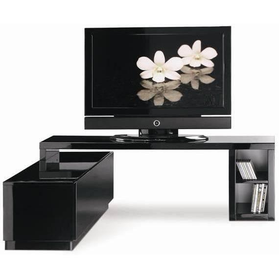 Meuble tv modulable laqu noir achat vente meuble tv - Meuble salon noir laque ...