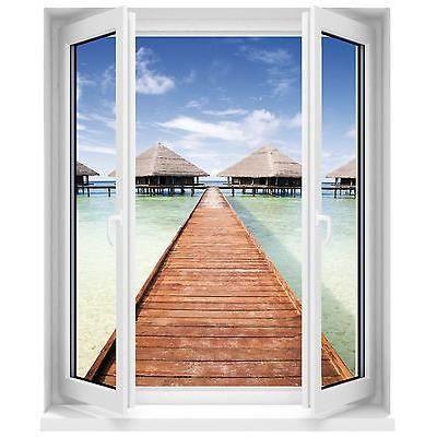 Sticker fen tre trompe l oeil seychelles 50x60c achat for Fenetre pvc 50 x 60
