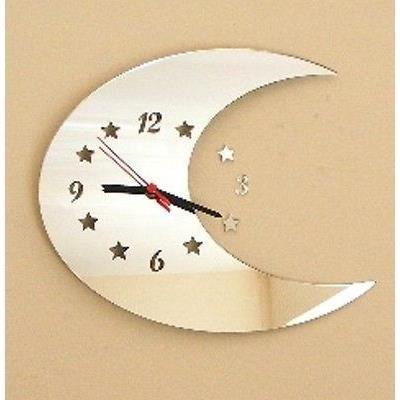 Miroir de lune 35cm horloge miroir mains noirs achat for Miroir sur la lune