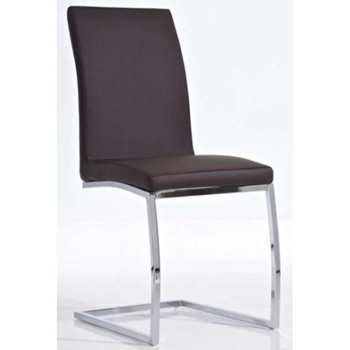 Chaise de salle manger cantilever brun en sim achat for Chaise de salle a manger brun