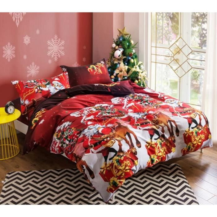 lot housse de couette hot sale joyeux no l imprim 3d. Black Bedroom Furniture Sets. Home Design Ideas