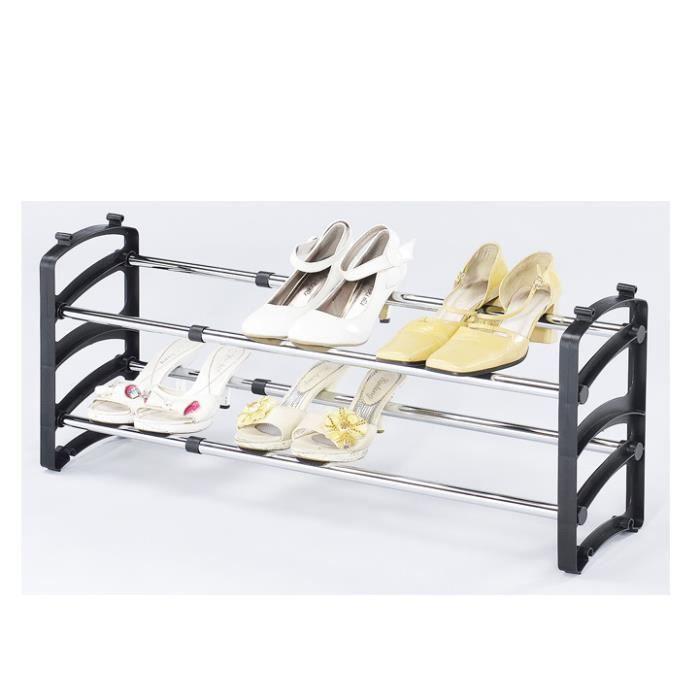 range chaussures extensible de 58 115cm avec 2 tag res achat vente porte chaussures range. Black Bedroom Furniture Sets. Home Design Ideas