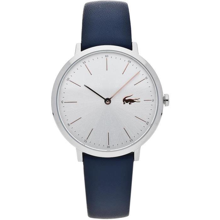 lacoste femme 35mm bracelet cuir bleu quartz cadran argent montre 2000986 achat vente montre. Black Bedroom Furniture Sets. Home Design Ideas