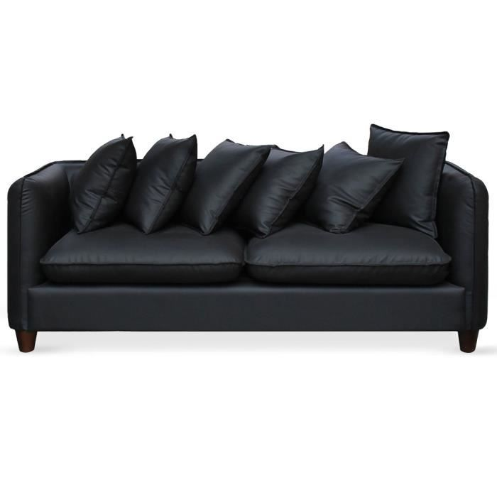 Ensemble canap s et fauteuil 3 2 1 places pietro noir for Divan et fauteuil