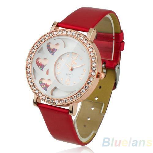 Dfa femme montre mignonne cadran rond avec d coration de strass perle et rose analogique achat for Montre decoration