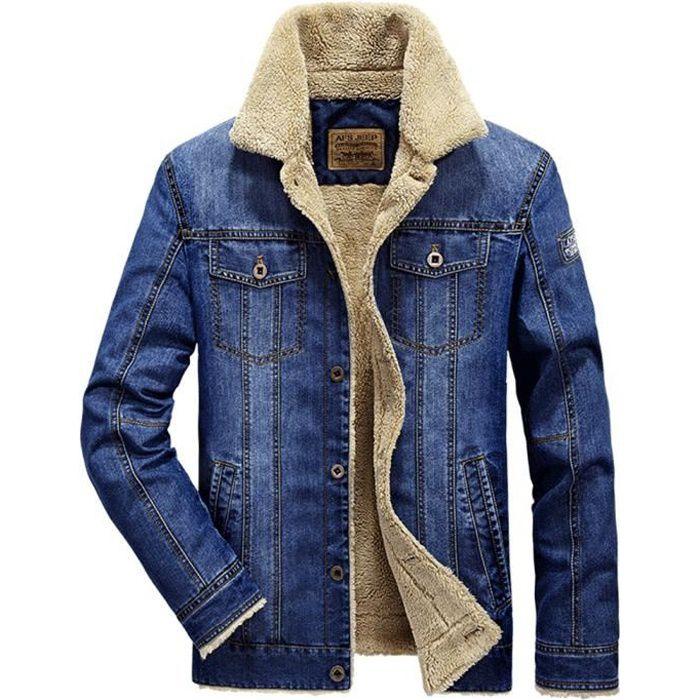veste en jean homme grande taille chaud blouson en jean d 39 hiver bleu achat vente blouson. Black Bedroom Furniture Sets. Home Design Ideas