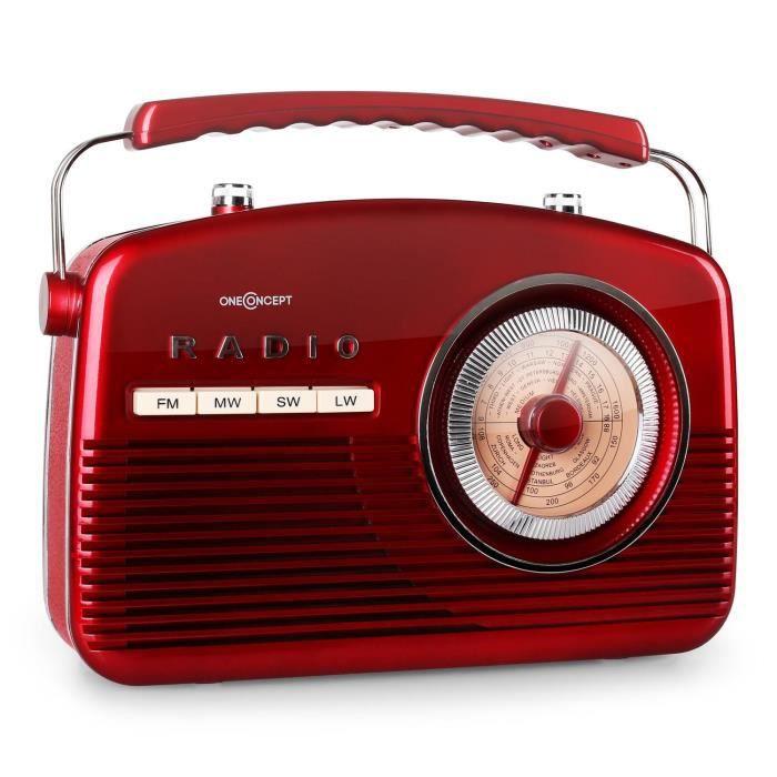 oneconcept nr 12 radio cuisine r tro fifties fm am rouge tuner radio avis et prix pas cher. Black Bedroom Furniture Sets. Home Design Ideas