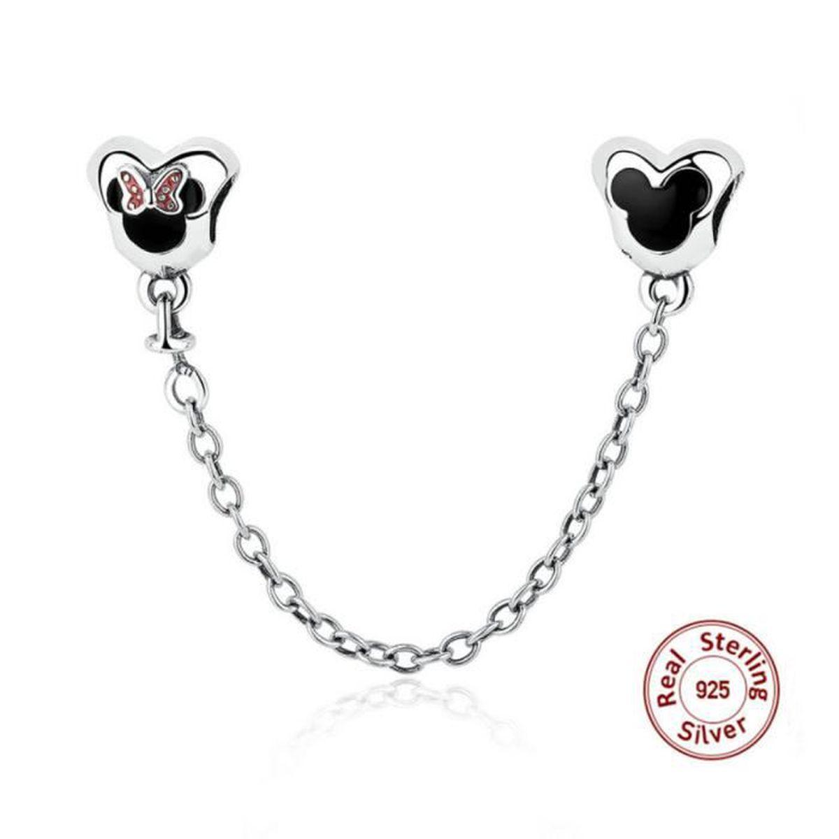 merrill charms bracelet perle argent 925 minnie et mickey cha ne de s curit compatible pandora. Black Bedroom Furniture Sets. Home Design Ideas