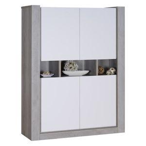 NORDEN Buffet haut contemporain - Gris et laqué blanc mat - L130 cm