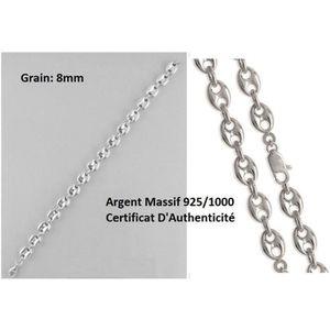 BRACELET - GOURMETTE Bracelet maille Grain de Café - Large- Argent Mass