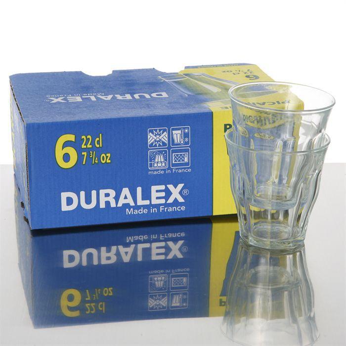Duralex picardie lot de 6 verres 22 cl achat vente verre eau soda - Verre picardie duralex ...