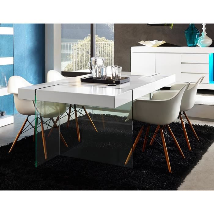 Table de salle manger rectangulaire design coloris blanc for Table de salle a manger design