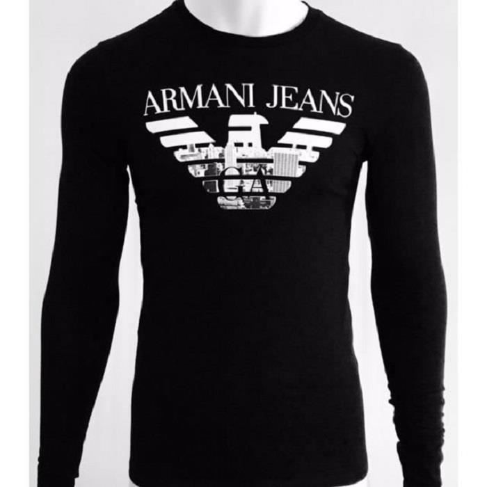 armani jeans tee shirt manches longues homme u6h81 immota. Black Bedroom Furniture Sets. Home Design Ideas