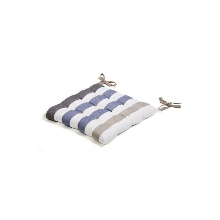 Galette de chaise coton ray 40x40 blanc bleu achat - Galette de chaise blanc ...