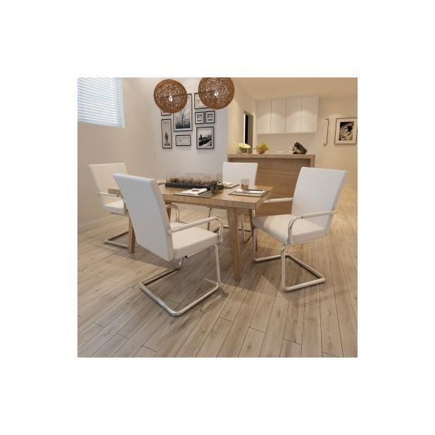 Superbe ensemble de 4 chaises de salle manger blanc for Ensemble de salle a manger