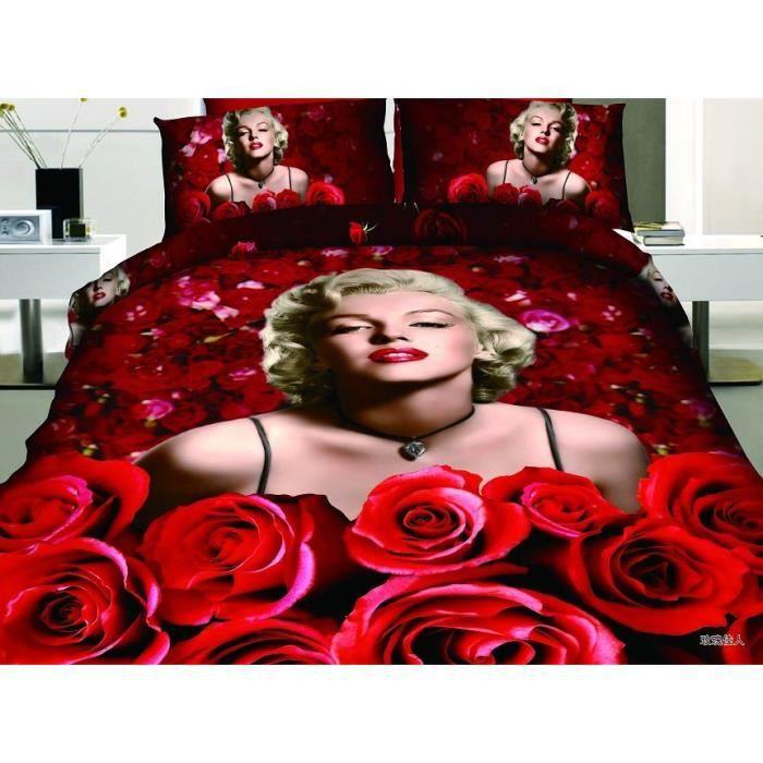 parure de lit marilyn monroe et roses coton 200 230 cm 3d effet 4 piece achat vente housse. Black Bedroom Furniture Sets. Home Design Ideas