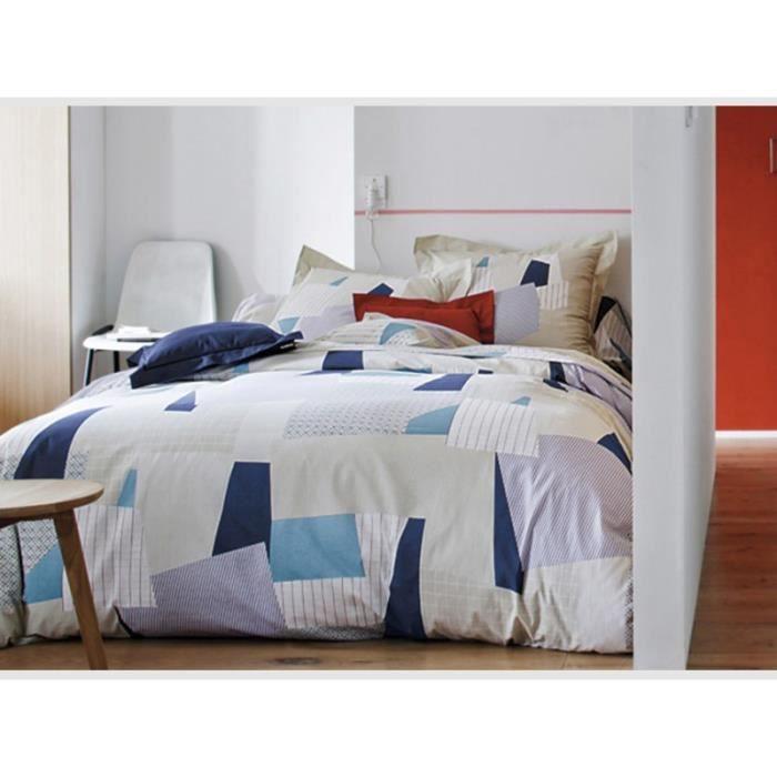parure de lit puzzle marine blanc des vosges achat vente parure de couette cdiscount. Black Bedroom Furniture Sets. Home Design Ideas