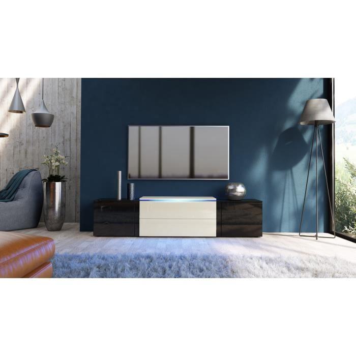 meuble tv noir et cr me avec led rvb 167 cm achat vente meuble tv meuble tv noir et cr me. Black Bedroom Furniture Sets. Home Design Ideas