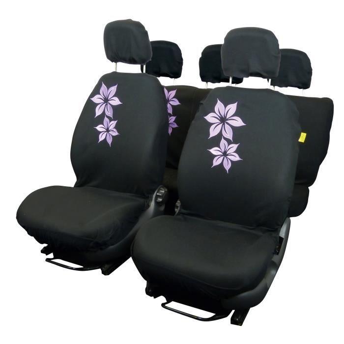 housse couvre sieges 9 pcs brode fleur noir violet achat vente housse de si ge housse couvre. Black Bedroom Furniture Sets. Home Design Ideas