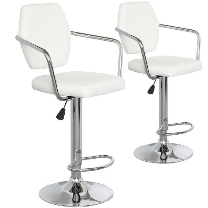 Lot de 2 chaises de bar summer blanc achat vente chaise soldes cdiscount - Cdiscount chaise de bar ...