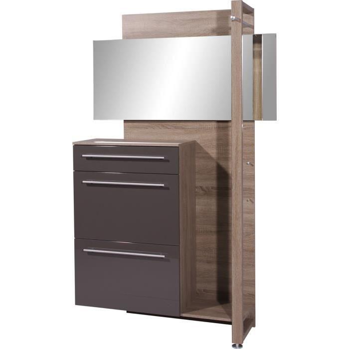penderie compacte coloris ch ne fonc repro graphite l120 x h195 x p36 cm achat vente. Black Bedroom Furniture Sets. Home Design Ideas
