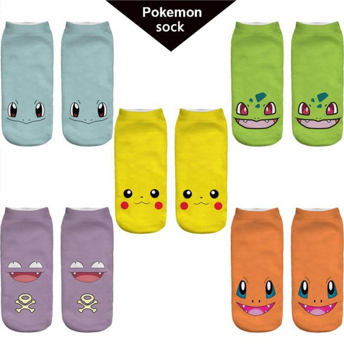 5 paires chaussettes pokemon pikachu charmander squirtle bulbizarre koffing hommes femmes chaussette de cheville respirantes