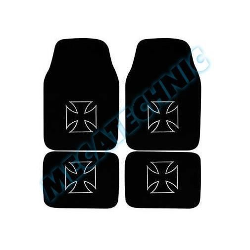 jeu de 4 tapis noirs avec croix de malte achat vente tapis de sol jeu de 4 tapis noirs avec. Black Bedroom Furniture Sets. Home Design Ideas