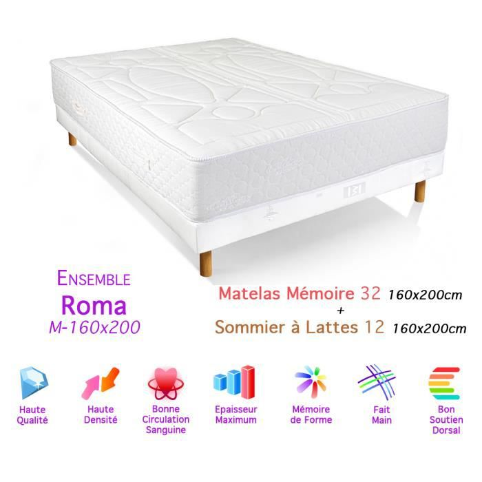 ensemble roma matelas m moire de forme sommier 32 12 160x200cm achat vente ensemble. Black Bedroom Furniture Sets. Home Design Ideas